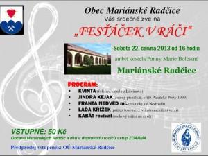 """Plakát """"Fesťáček v Ráči"""" - 22.6.2013"""