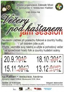 """Plakát """"Večery pod kaštanem"""" - září - prosinec 2012"""